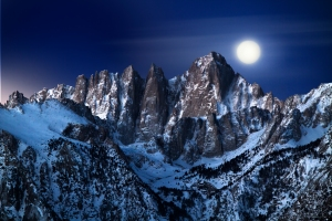 Mt Whitney Moonset before Sunrise